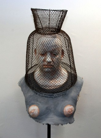 self portrait with french crawfish trap 2010 - Plaster, Acrylic, 28 inches X 16 X 12 - price £4,000