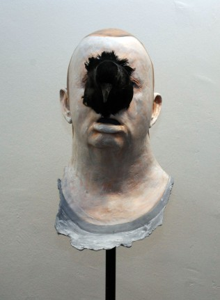 self portrait with rooks head 2010 Plaster, Acrylic 17 inches X 9 by 9 - price £3,500